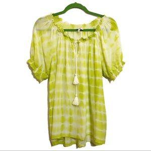 JOIE green print short sleeve tassel top. Large